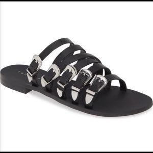 Topshop Strappy Buckle Black Sandals